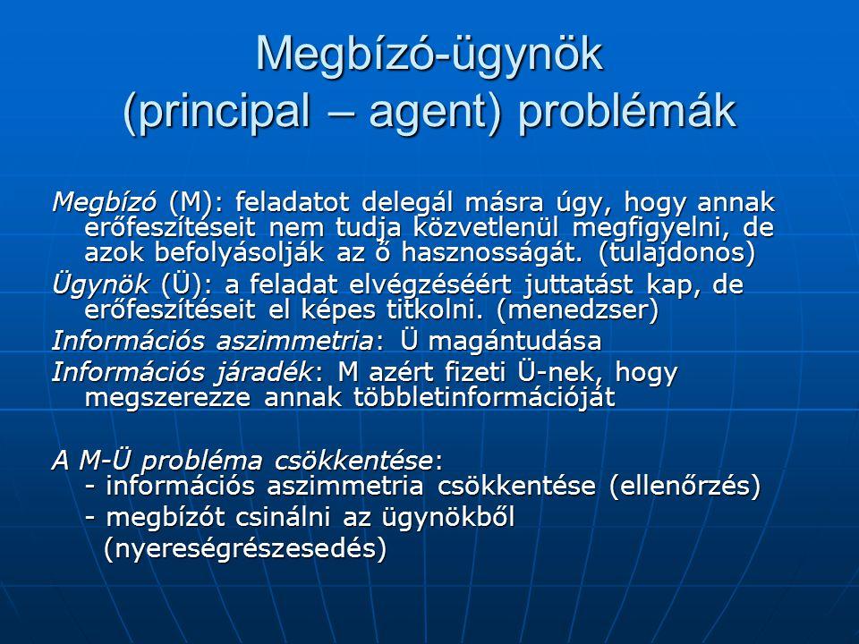 Megbízó-ügynök (principal – agent) problémák