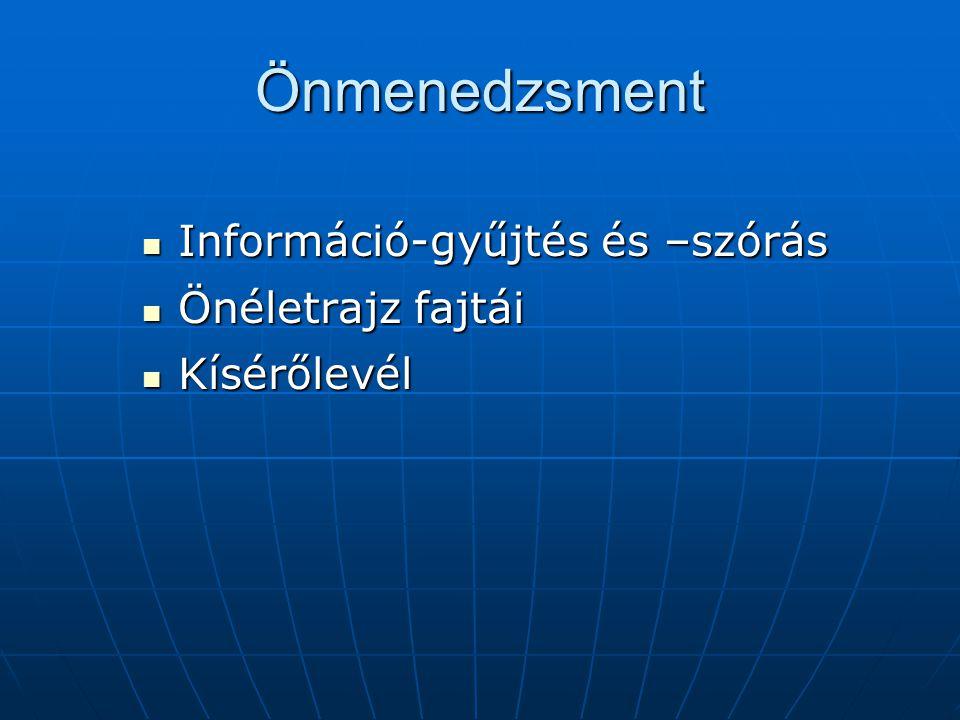 Önmenedzsment Információ-gyűjtés és –szórás Önéletrajz fajtái