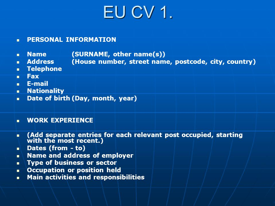 EU CV 1. PERSONAL INFORMATION Name (SURNAME, other name(s))