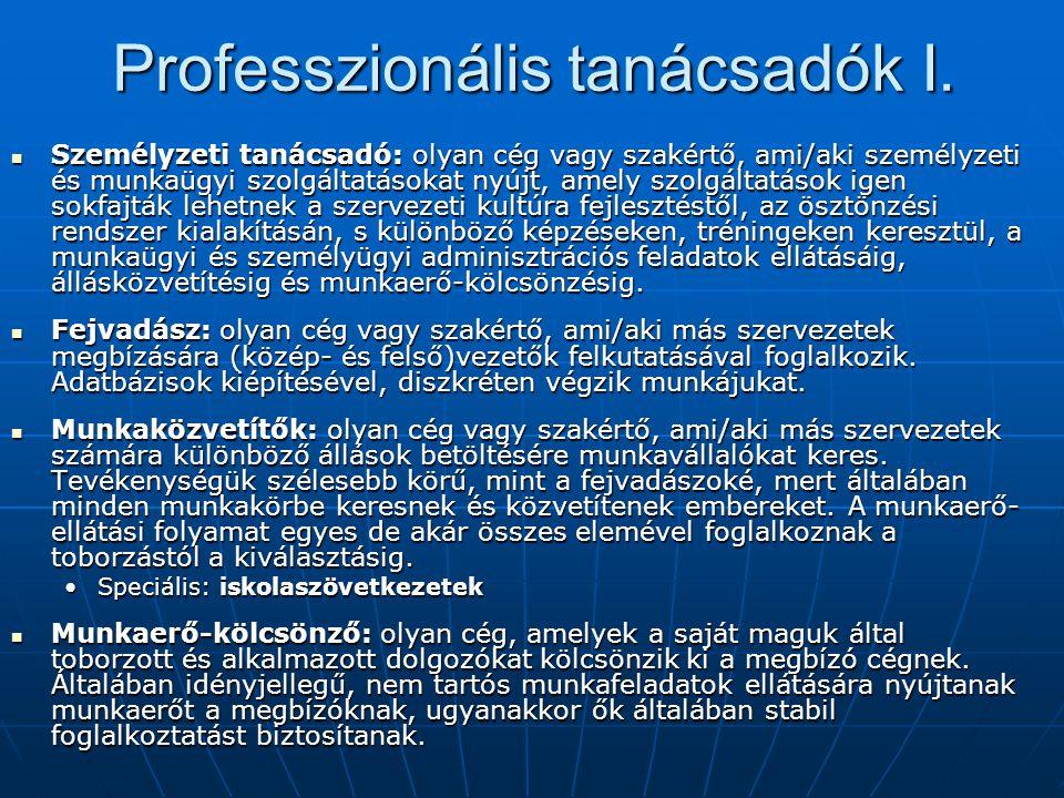Professzionális tanácsadók I.