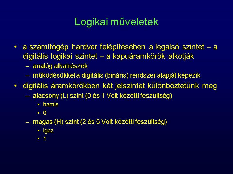 Logikai műveletek a számítógép hardver felépítésében a legalsó szintet – a digitális logikai szintet – a kapuáramkörök alkotják.