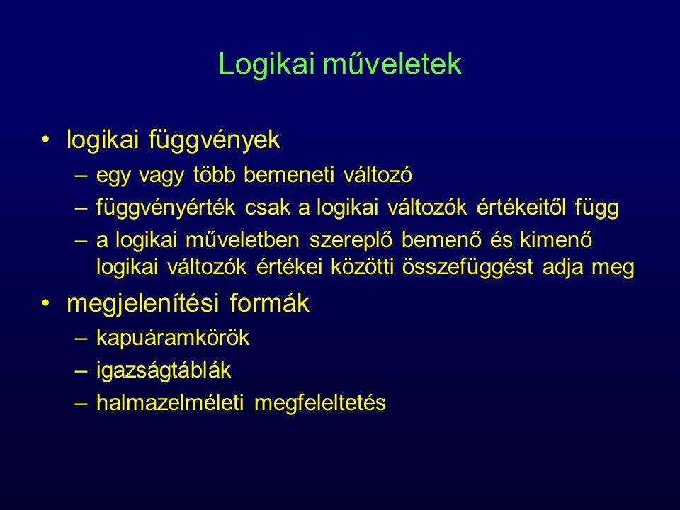 Logikai műveletek logikai függvények megjelenítési formák