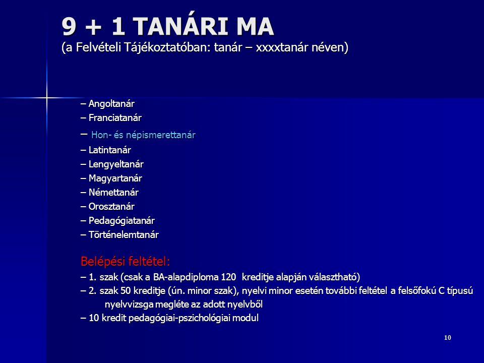 9 + 1 TANÁRI MA (a Felvételi Tájékoztatóban: tanár – xxxxtanár néven)