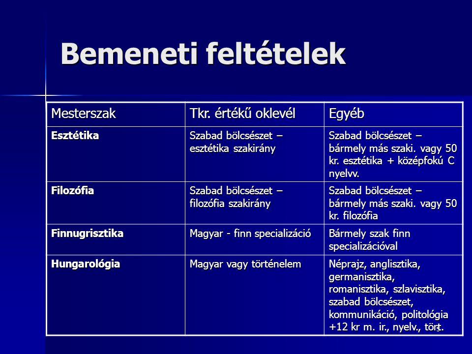 Bemeneti feltételek Mesterszak Tkr. értékű oklevél Egyéb Esztétika
