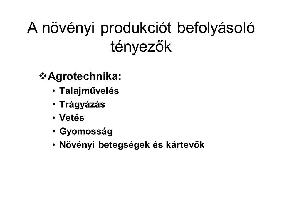 A növényi produkciót befolyásoló tényezők