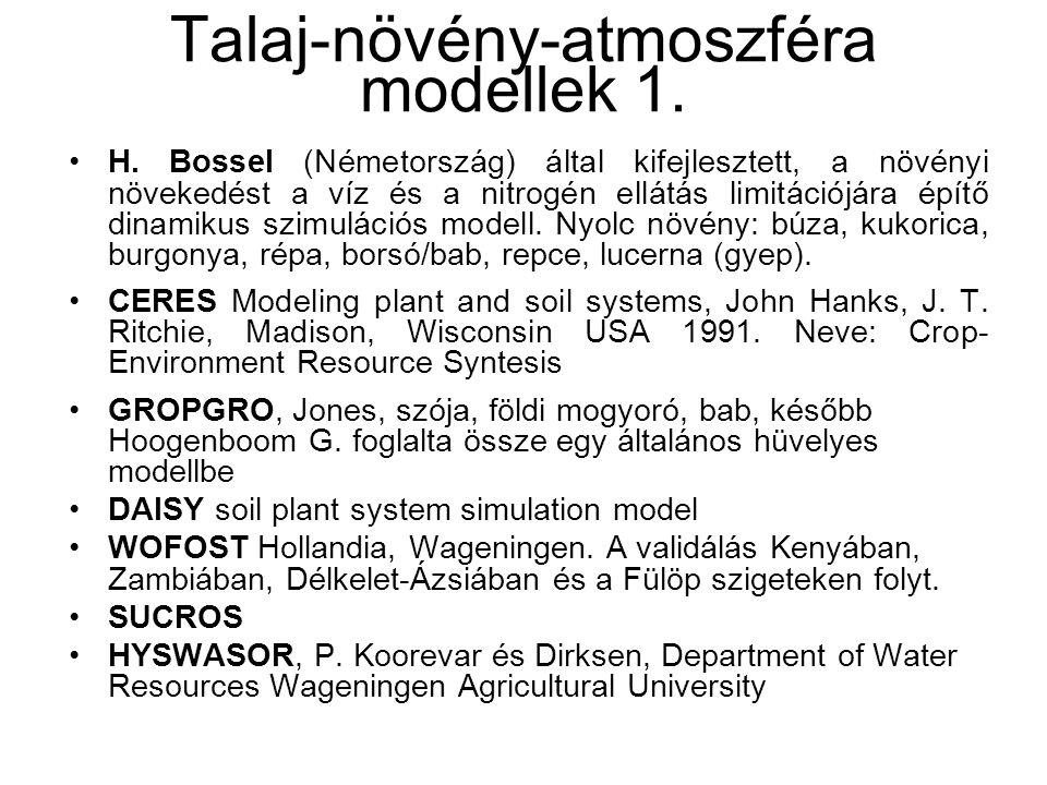 Talaj-növény-atmoszféra modellek 1.