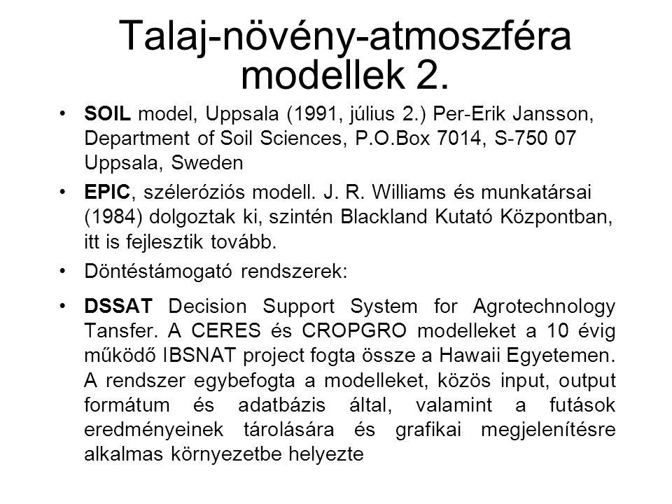 Talaj-növény-atmoszféra modellek 2.