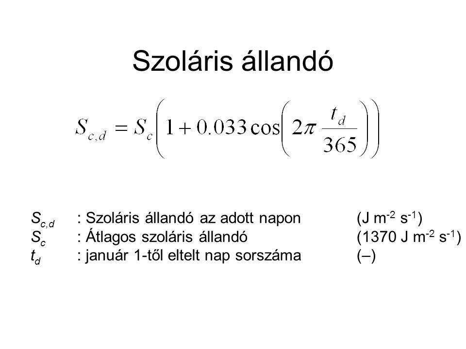 Szoláris állandó Sc,d : Szoláris állandó az adott napon (J m-2 s-1)