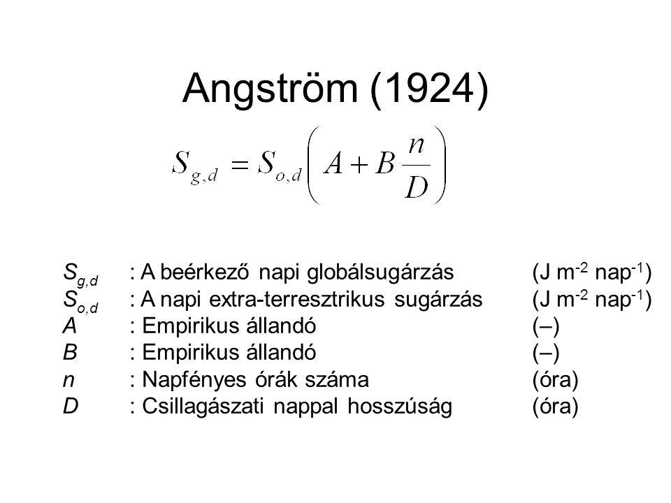 Angström (1924) Sg,d : A beérkező napi globálsugárzás (J m-2 nap-1)