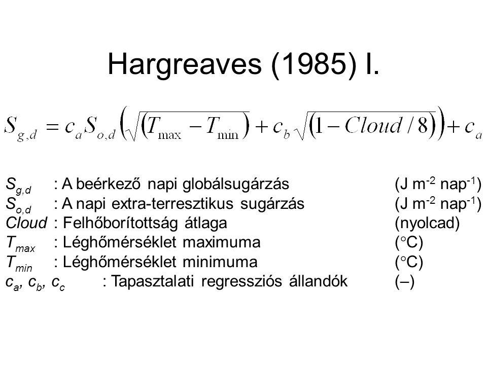 Hargreaves (1985) I. Sg,d : A beérkező napi globálsugárzás (J m-2 nap-1) So,d : A napi extra-terresztikus sugárzás (J m-2 nap-1)