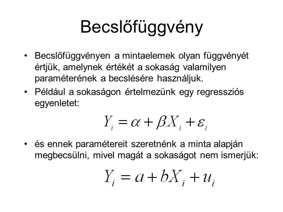 Becslőfüggvény Becslőfüggvényen a mintaelemek olyan függvényét értjük, amelynek értékét a sokaság valamilyen paraméterének a becslésére használjuk.