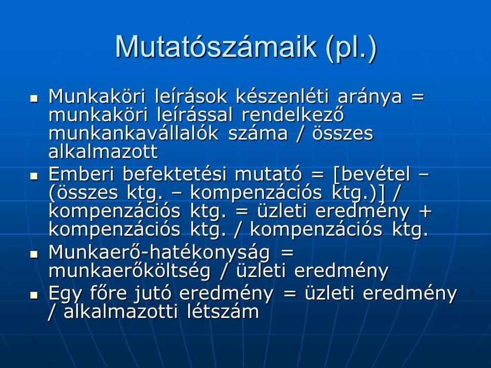 Mutatószámaik (pl.) Munkaköri leírások készenléti aránya = munkaköri leírással rendelkező munkankavállalók száma / összes alkalmazott.