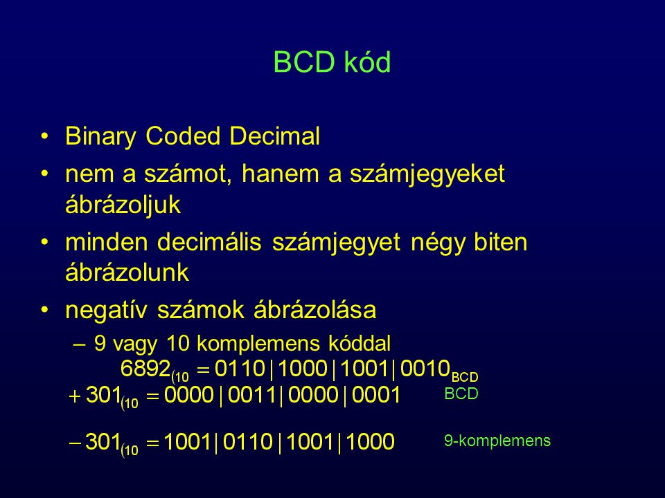 BCD kód Binary Coded Decimal