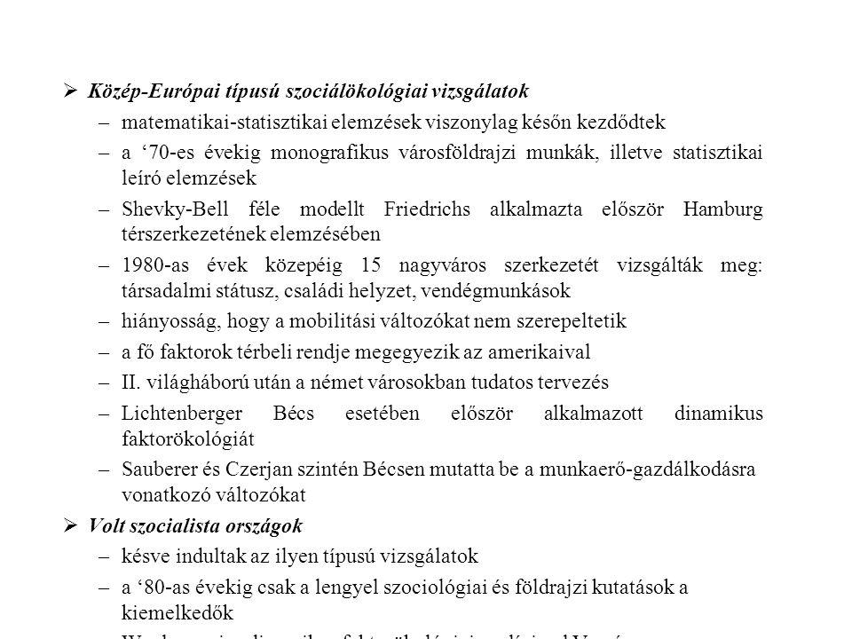 Közép-Európai típusú szociálökológiai vizsgálatok