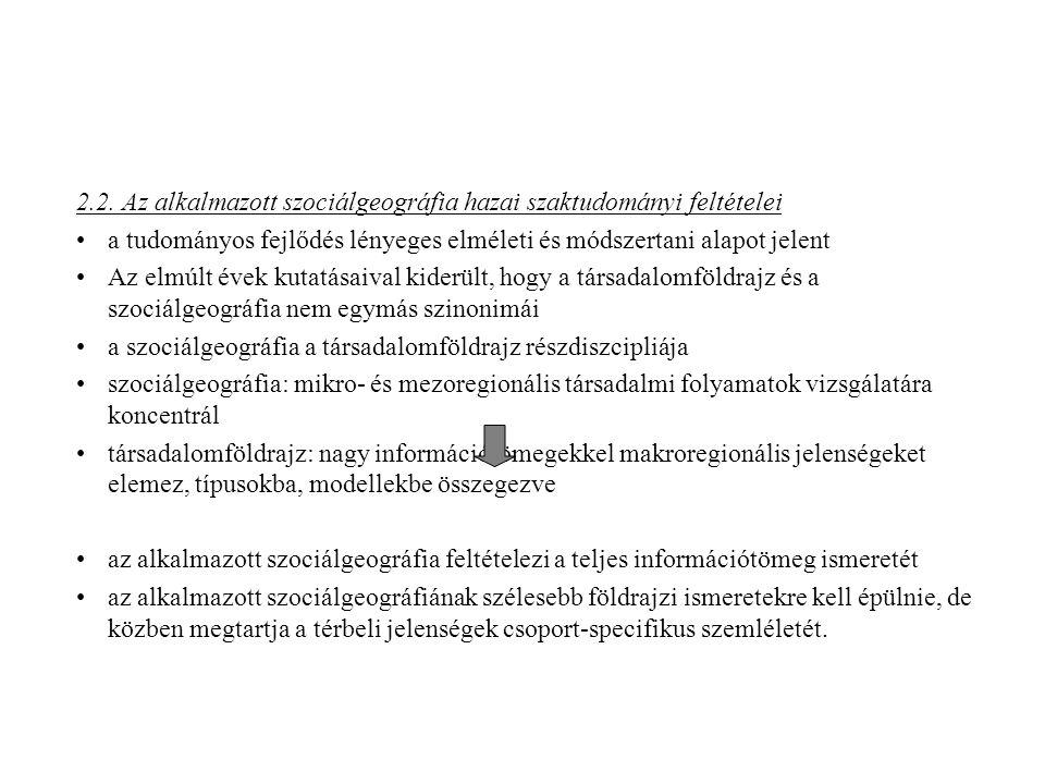 2.2. Az alkalmazott szociálgeográfia hazai szaktudományi feltételei