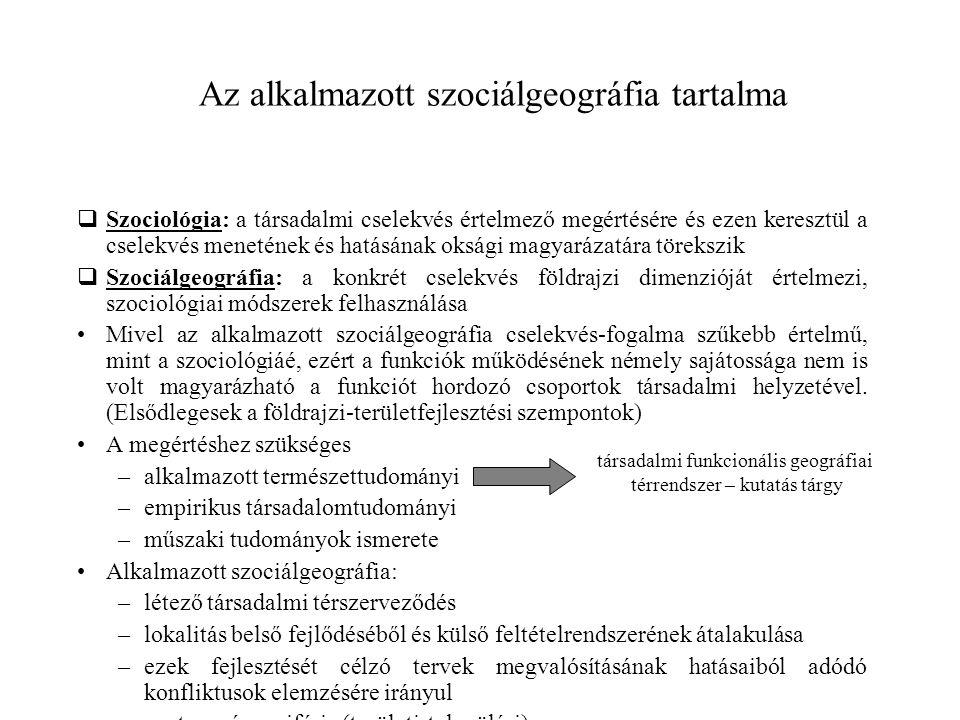 Az alkalmazott szociálgeográfia tartalma