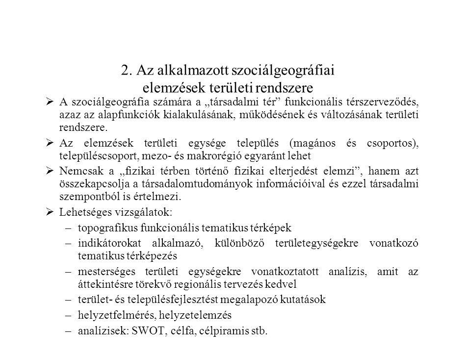 2. Az alkalmazott szociálgeográfiai elemzések területi rendszere