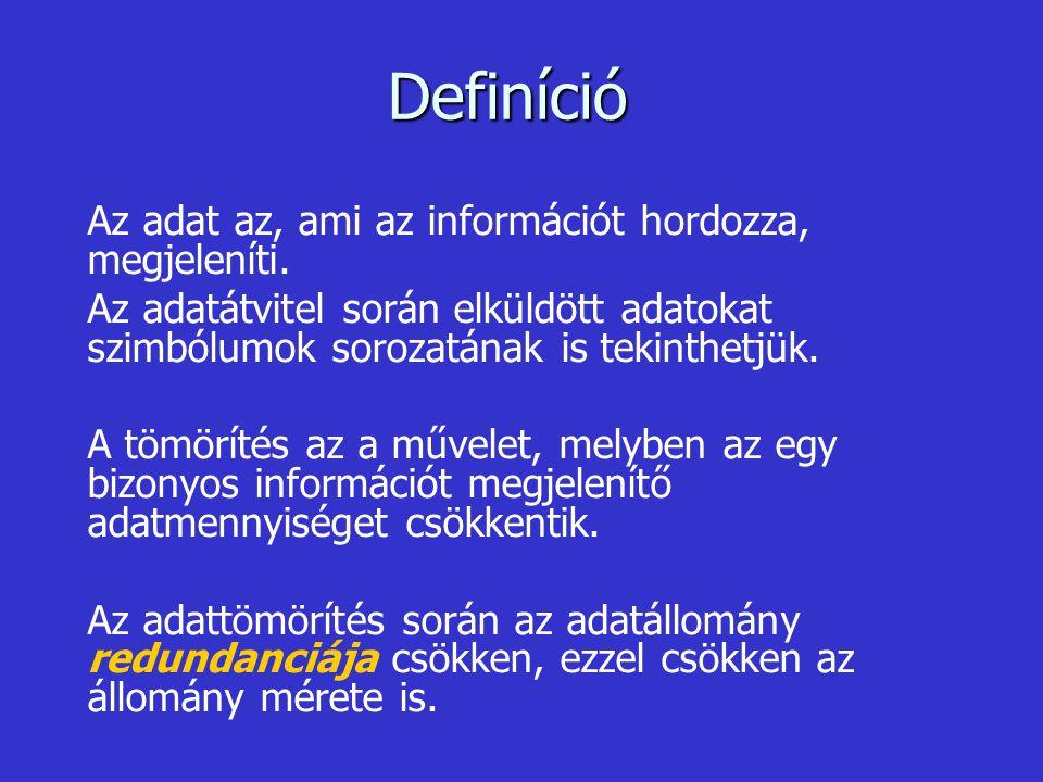 Definíció Az adat az, ami az információt hordozza, megjeleníti.