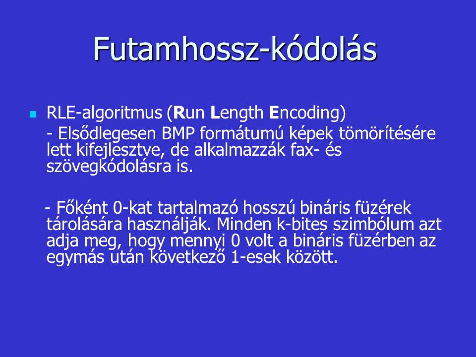 Futamhossz-kódolás RLE-algoritmus (Run Length Encoding)