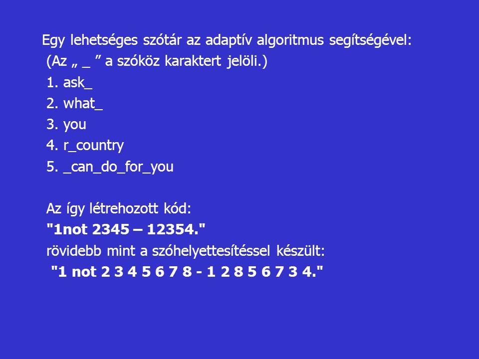 Egy lehetséges szótár az adaptív algoritmus segítségével: