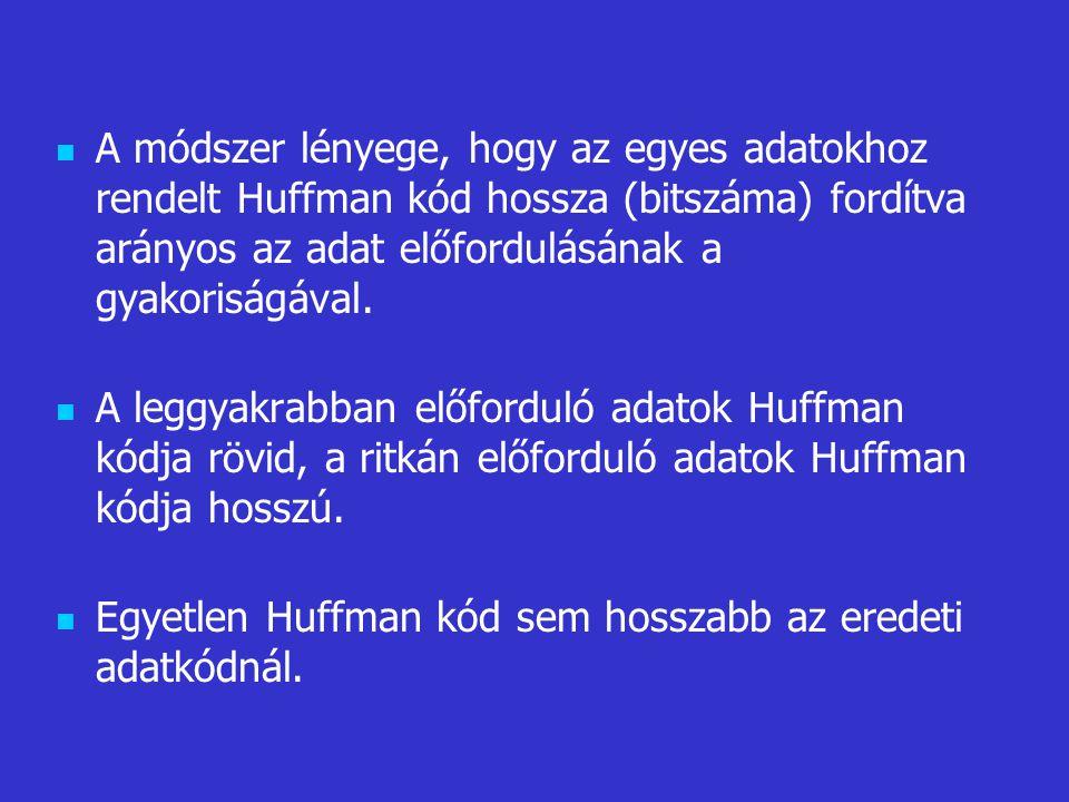 A módszer lényege, hogy az egyes adatokhoz rendelt Huffman kód hossza (bitszáma) fordítva arányos az adat előfordulásának a gyakoriságával.
