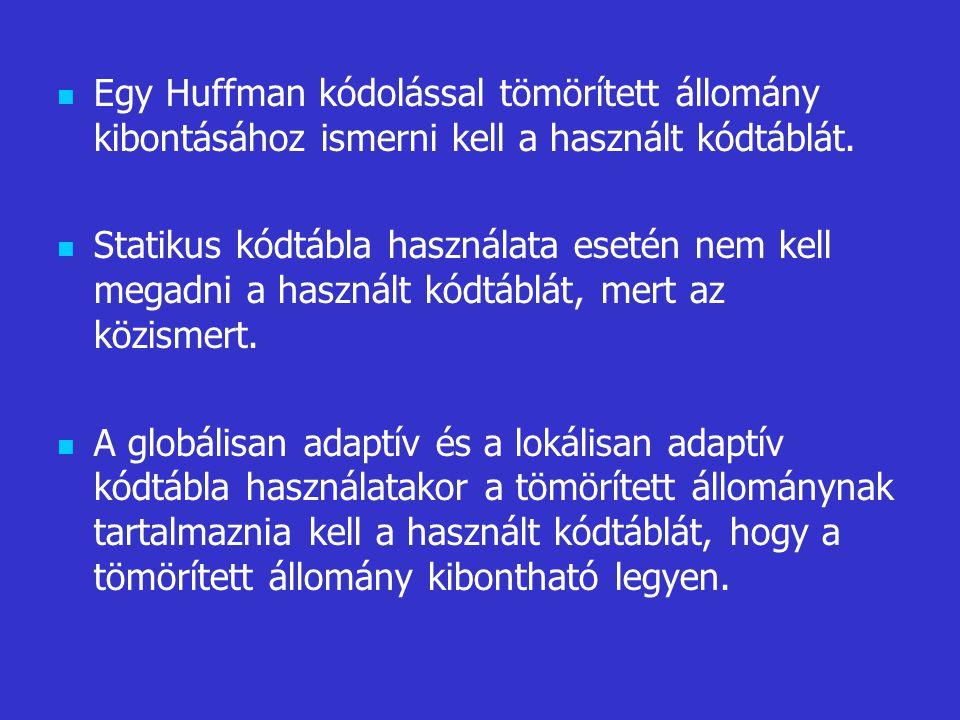 Egy Huffman kódolással tömörített állomány kibontásához ismerni kell a használt kódtáblát.
