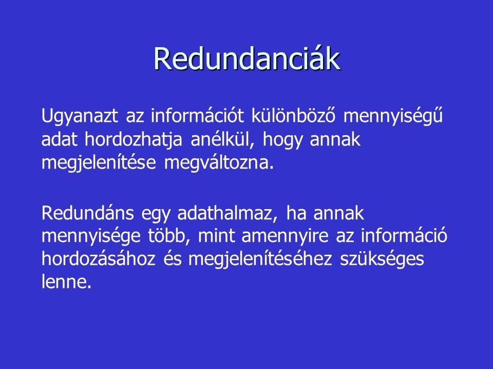 Redundanciák Ugyanazt az információt különböző mennyiségű adat hordozhatja anélkül, hogy annak megjelenítése megváltozna.