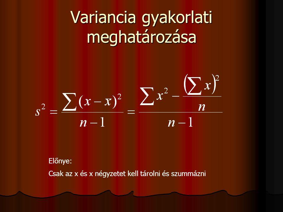 Variancia gyakorlati meghatározása