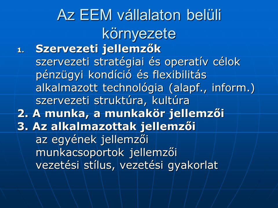 Az EEM vállalaton belüli környezete