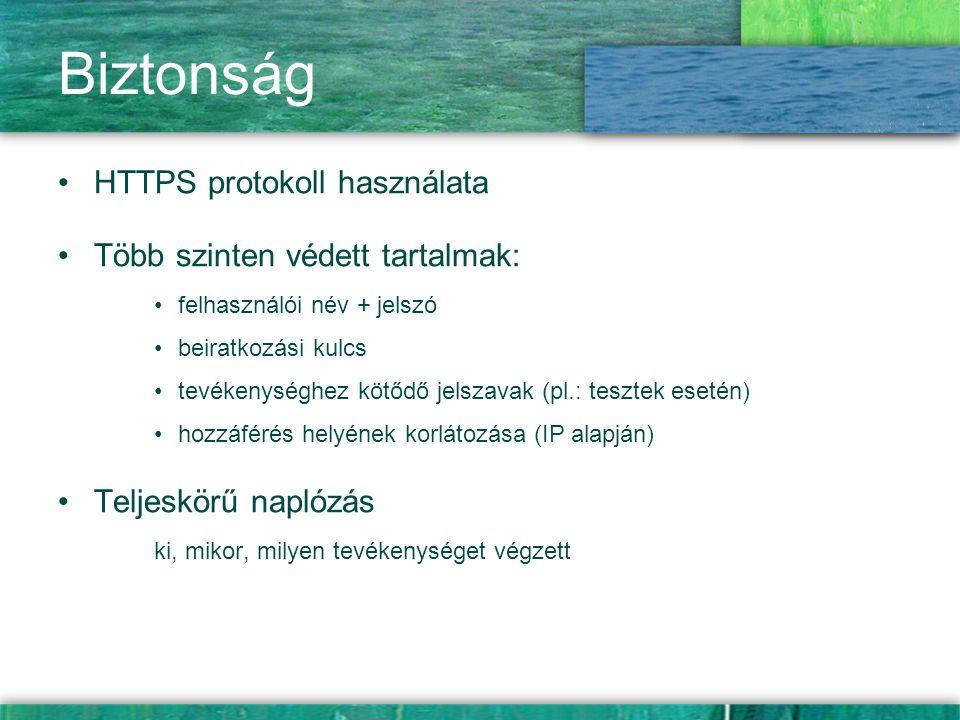 Biztonság HTTPS protokoll használata Több szinten védett tartalmak: