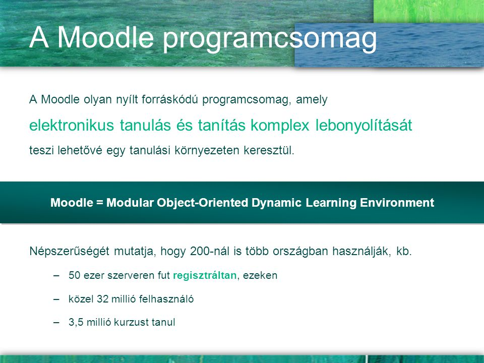 A Moodle programcsomag