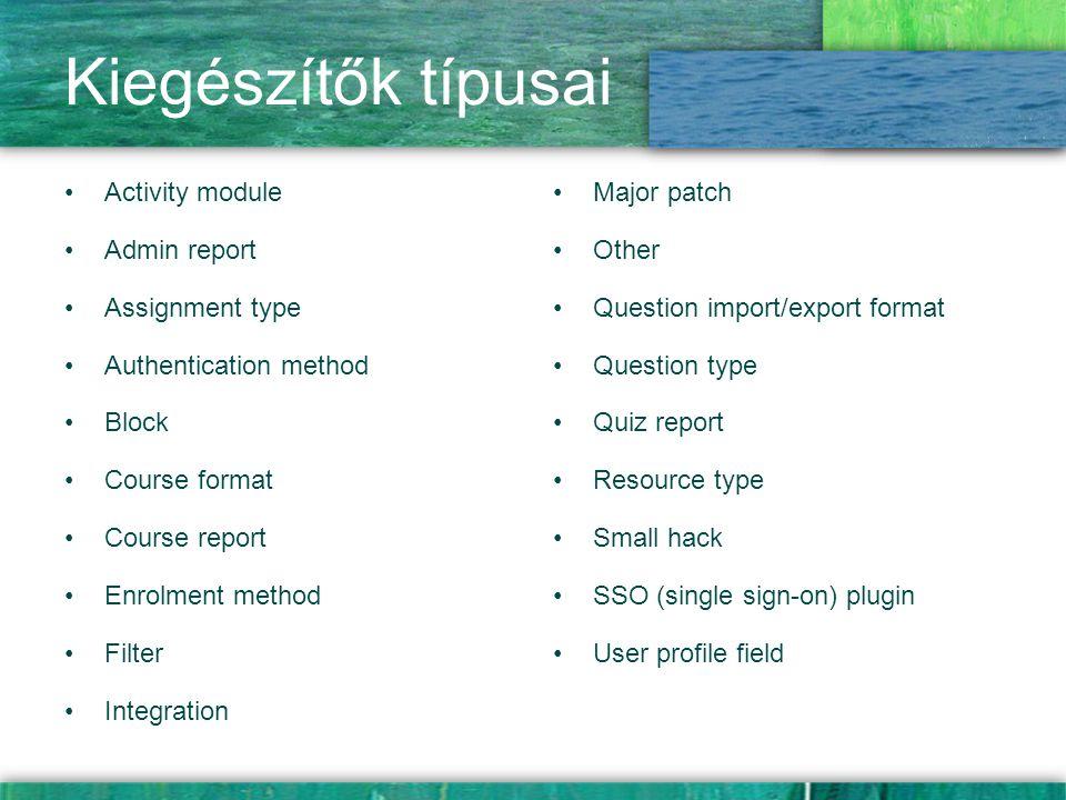 Kiegészítők típusai Activity module Admin report Assignment type