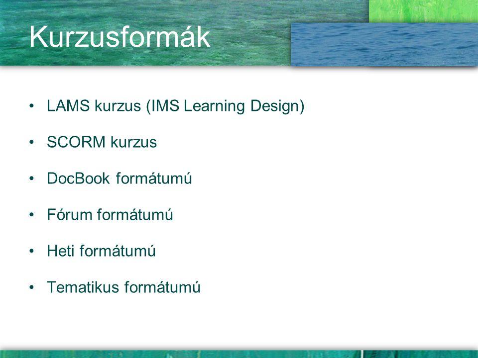 Kurzusformák LAMS kurzus (IMS Learning Design) SCORM kurzus