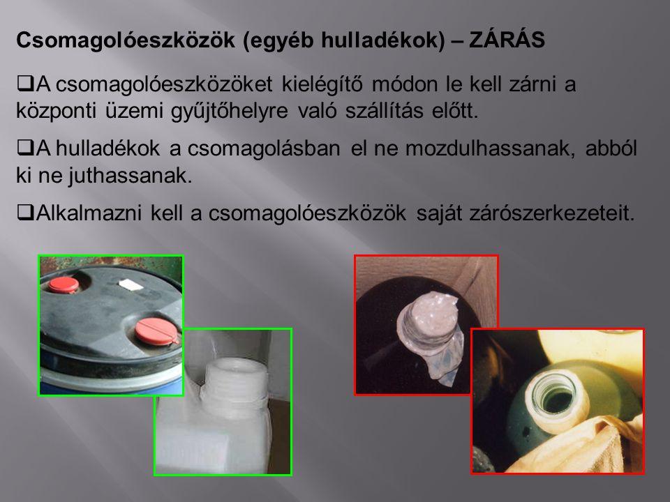 Csomagolóeszközök (egyéb hulladékok) – ZÁRÁS