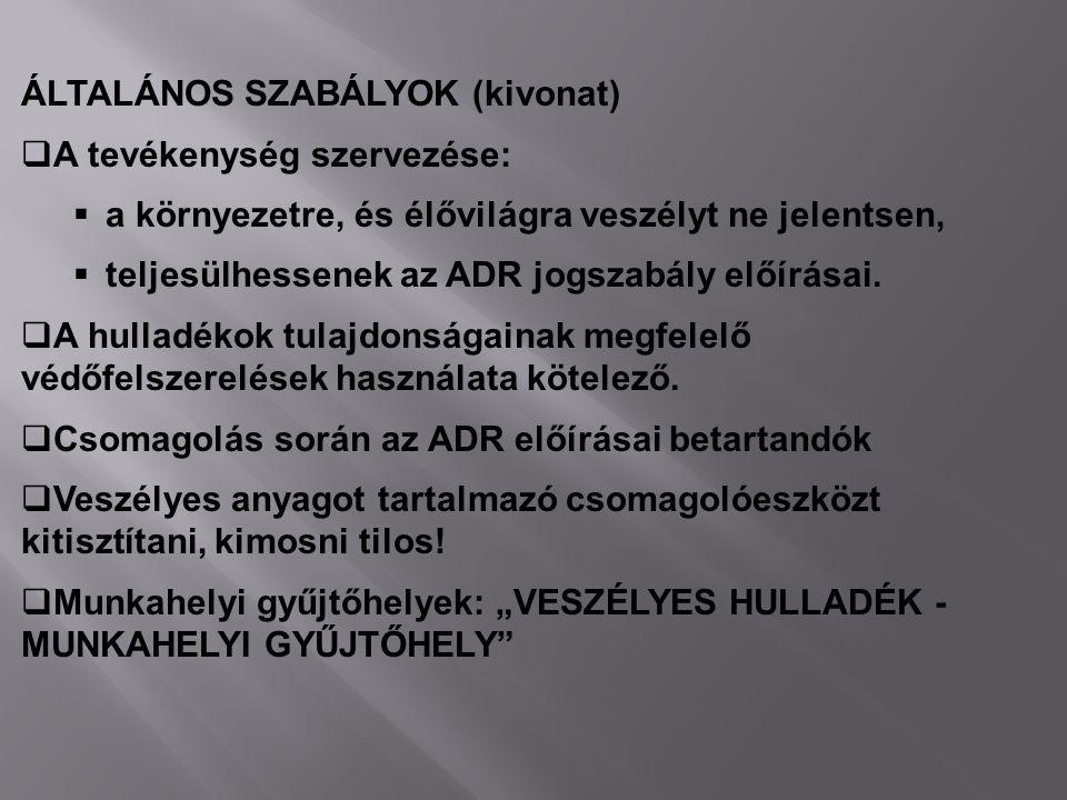 ÁLTALÁNOS SZABÁLYOK (kivonat)