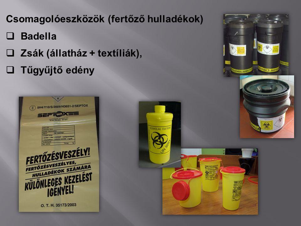 Csomagolóeszközök (fertőző hulladékok)
