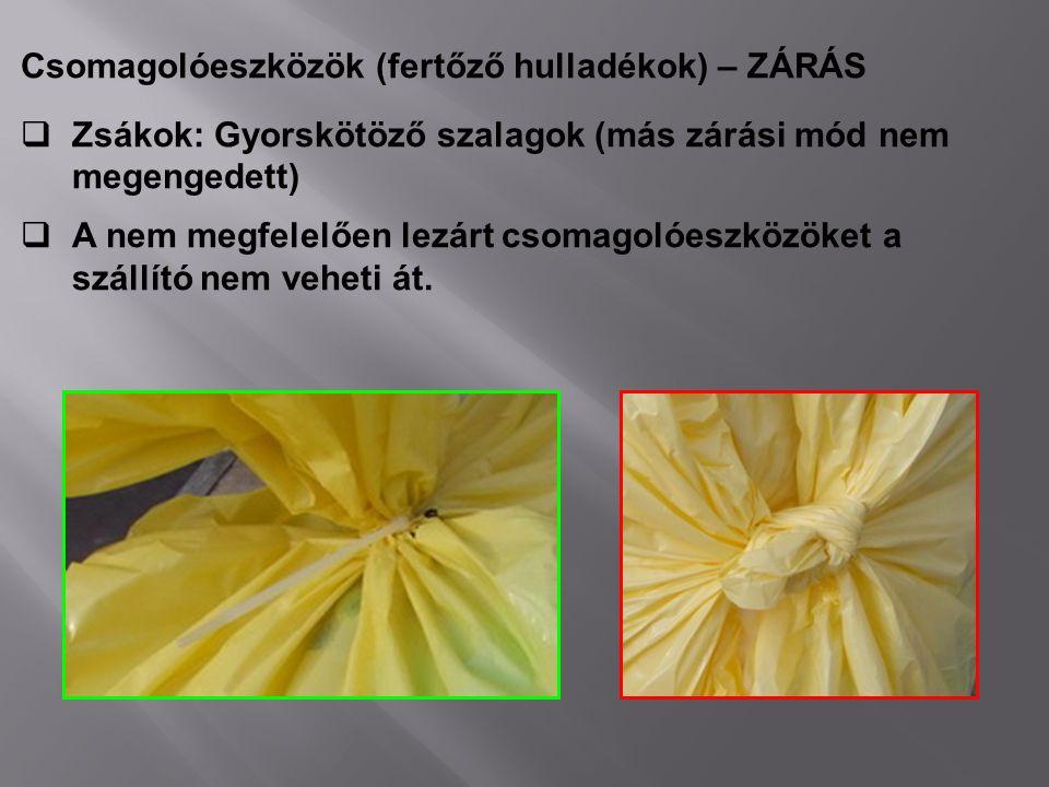 Csomagolóeszközök (fertőző hulladékok) – ZÁRÁS