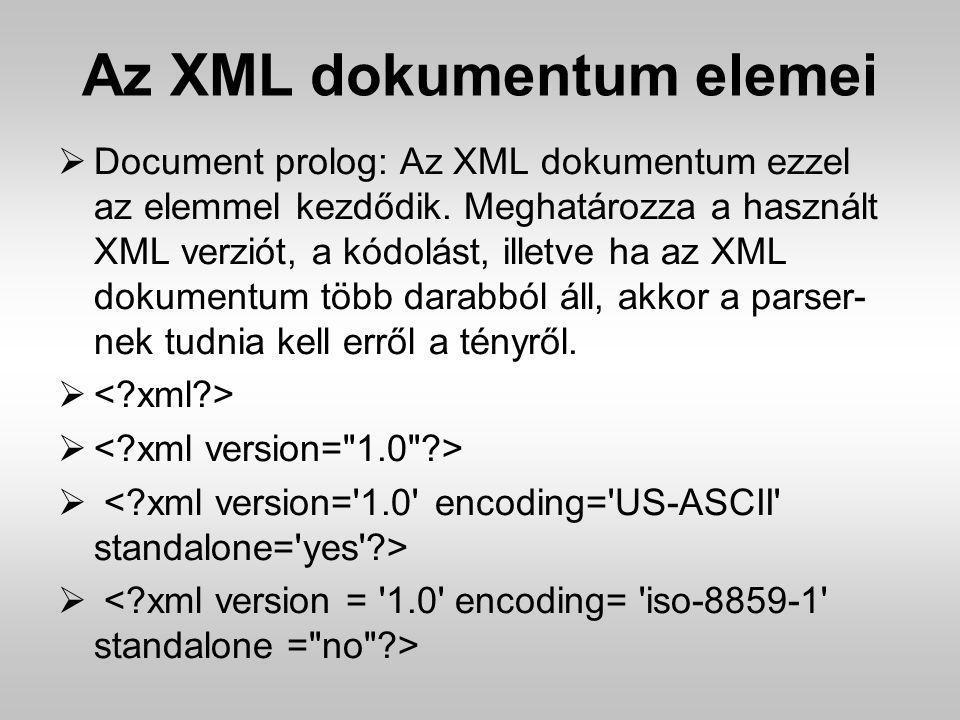 Az XML dokumentum elemei