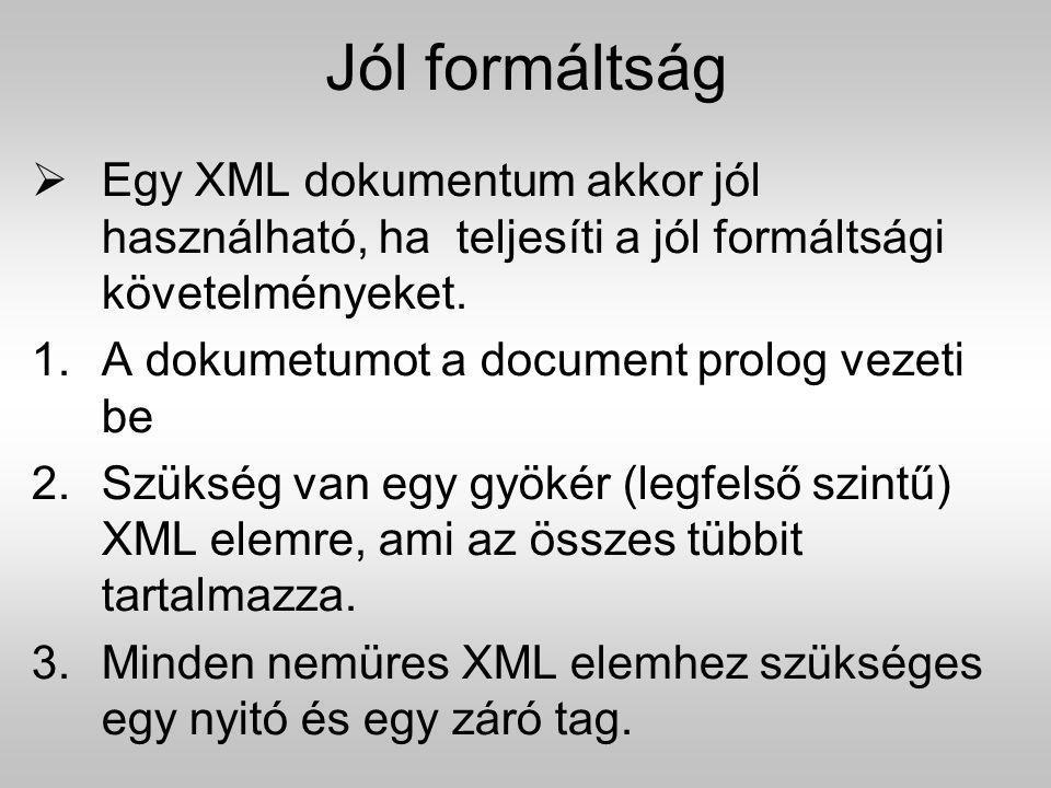 Jól formáltság Egy XML dokumentum akkor jól használható, ha teljesíti a jól formáltsági követelményeket.