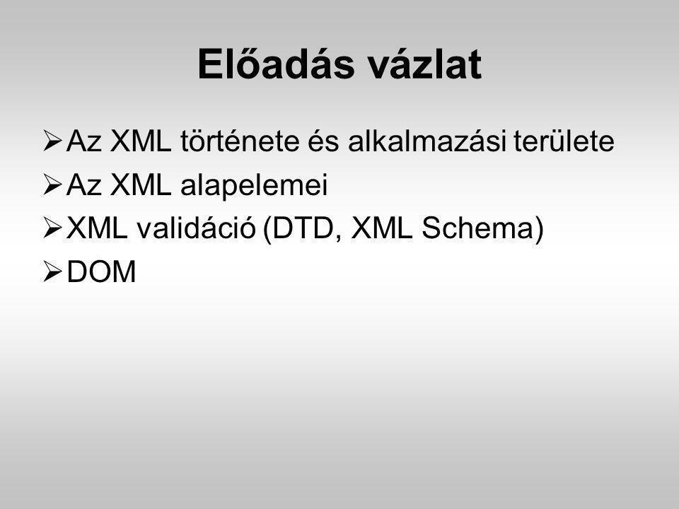 Előadás vázlat Az XML története és alkalmazási területe