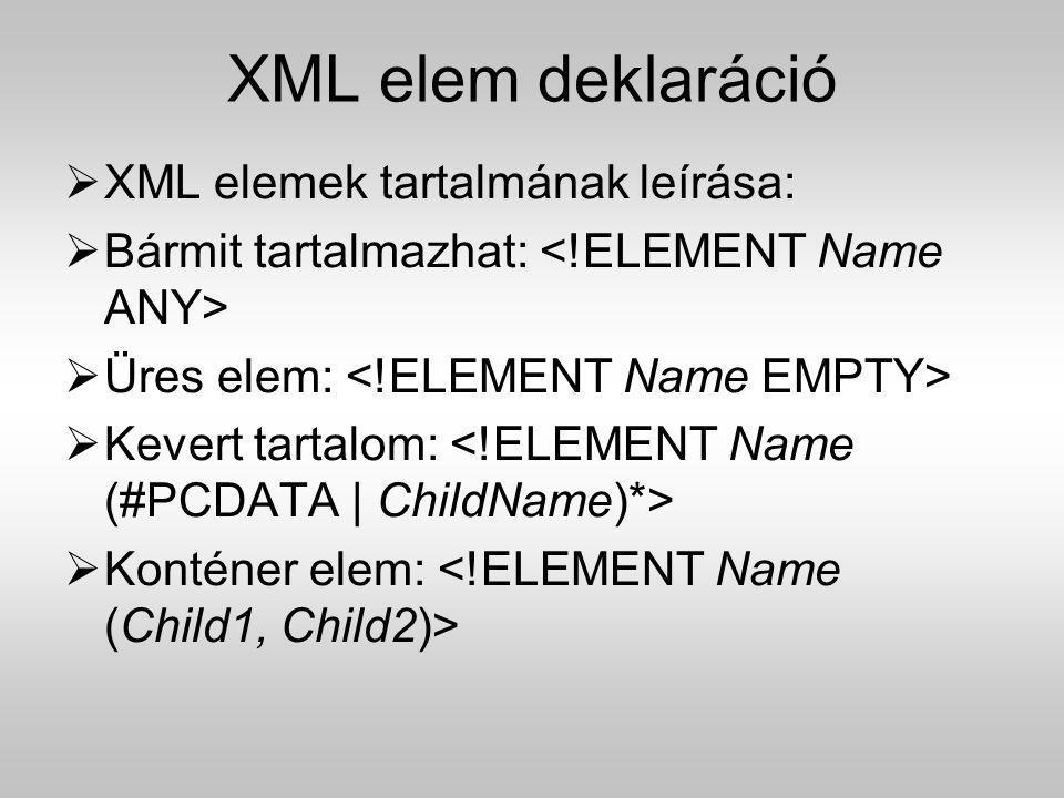 XML elem deklaráció XML elemek tartalmának leírása: