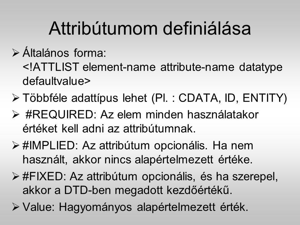 Attribútumom definiálása