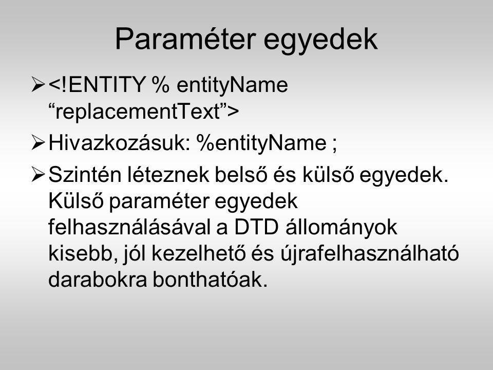 Paraméter egyedek <!ENTITY % entityName replacementText >