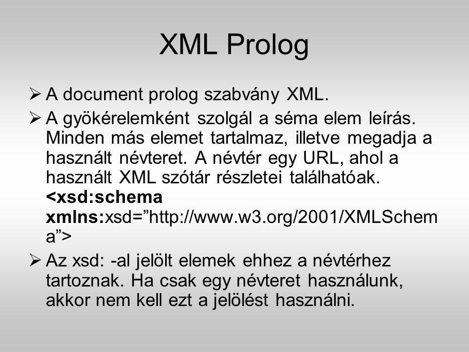 XML Prolog A document prolog szabvány XML.