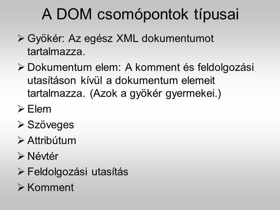 A DOM csomópontok típusai