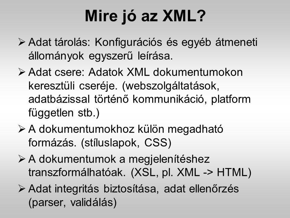 Mire jó az XML Adat tárolás: Konfigurációs és egyéb átmeneti állományok egyszerű leírása.