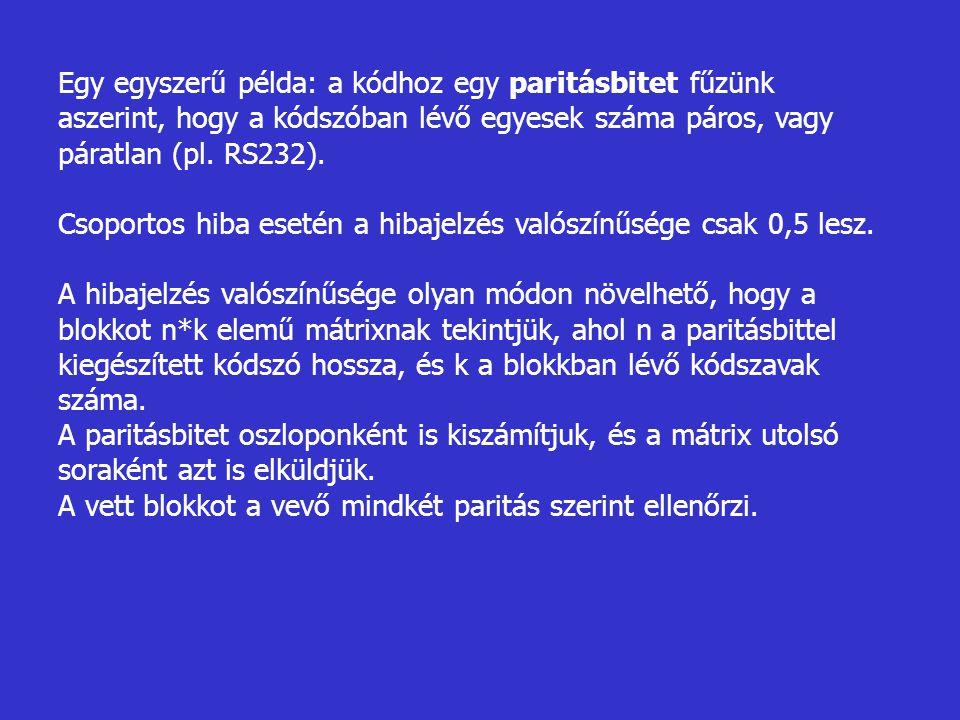 Egy egyszerű példa: a kódhoz egy paritásbitet fűzünk aszerint, hogy a kódszóban lévő egyesek száma páros, vagy páratlan (pl. RS232).