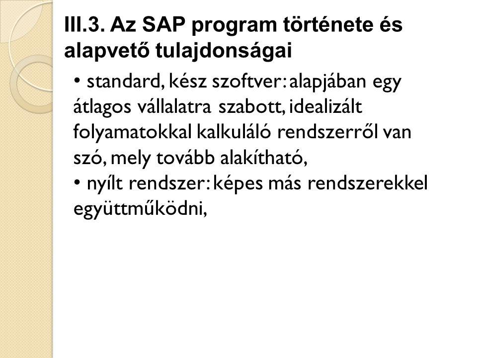 III.3. Az SAP program története és alapvető tulajdonságai