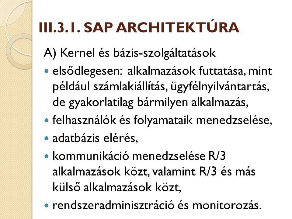 III.3.1. SAP ARCHITEKTÚRA A) Kernel és bázis-szolgáltatások
