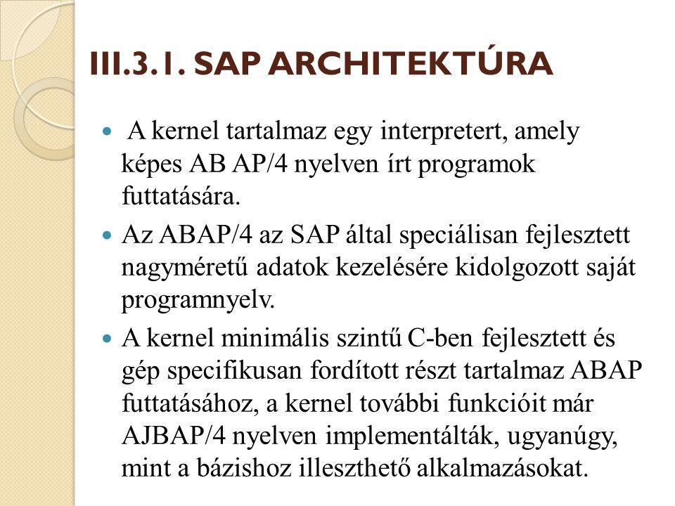 III.3.1. SAP ARCHITEKTÚRA A kernel tartalmaz egy interpretert, amely képes AB AP/4 nyelven írt programok futtatására.